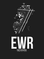 EWR Newark Airport Black Fine Art Print