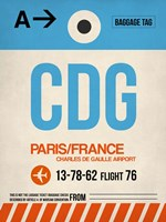 CDG Paris Luggage Tag 2 Framed Print