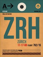 ZRH Zurich Luggage Tag 1 Fine Art Print