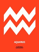 Aquarius Zodiac Sign White on Orange Fine Art Print