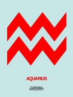 Aquarius Zodiac Sign Red Fine Art Print