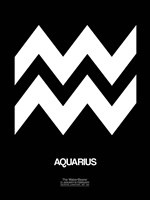 Aquarius Zodiac Sign White Fine Art Print