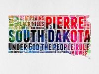 South Dakota Watercolor Word Cloud Fine Art Print