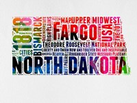North Dakota Watercolor Word Cloud Fine Art Print