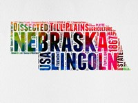 Nebraska Watercolor Word Cloud Fine Art Print