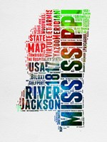 Mississippi Watercolor Word Cloud Fine Art Print