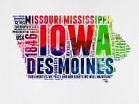 Iowa Watercolor Word Cloud Fine Art Print