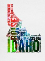 Idaho Watercolor Word Cloud Fine Art Print