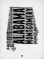 Alabama Word Cloud 2 Fine Art Print