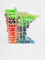 Minnesota Watercolor Word Cloud Fine Art Print