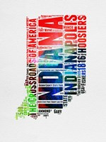 Indiana Watercolor Word Cloud Fine Art Print