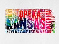 Kansas Watercolor Word Cloud Fine Art Print