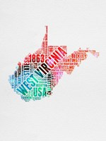 West Virginia Watercolor Word Cloud Fine Art Print