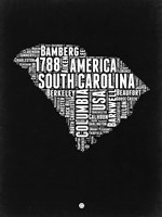 South Carolina Black and White Map Fine Art Print