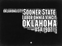 Oklahoma Black and White Map Fine Art Print