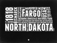 North Dakota Black and White Map Fine Art Print