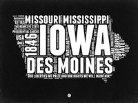 Iowa Black and White Map Fine Art Print