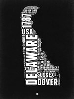 Delaware Black and White Map Fine Art Print