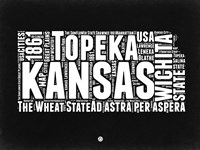 Kansas Black and White Map Fine Art Print
