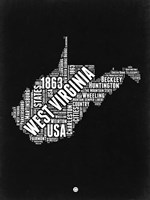 West Virginia Black and White Map Fine Art Print