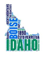 Idaho Word Cloud Map Fine Art Print