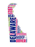 Delaware Word Cloud Map Fine Art Print