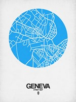 Geneva Street Map Blue Fine Art Print