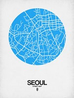 Seoul Street Map Blue Fine Art Print