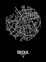 Seoul Street Map Black Fine Art Print