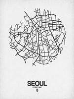 Seoul Street Map White Fine Art Print