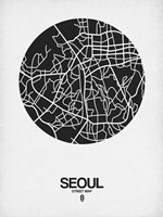 Seoul Street Map Black on White Fine Art Print