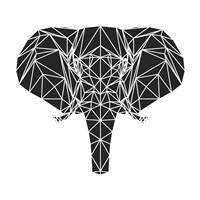 Black Elephant Polygon Fine Art Print