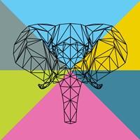 Party Elephant Polygon 2 Fine Art Print
