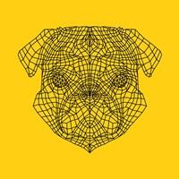Pug Head Yellow Mesh Fine Art Print