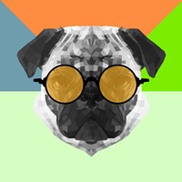 Party Pug in Yellow Glasses Fine Art Print