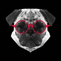 Pug in Red Glasses Fine Art Print
