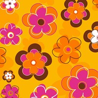 Floral on Orange Fine Art Print