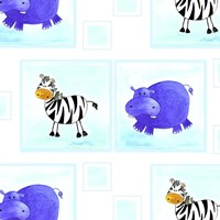 Zebras and Hippos Fine Art Print