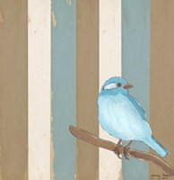 Teal Bird With Stripes Fine Art Print