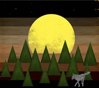 Nighttime In The Forest With Wolf Fine Art Print