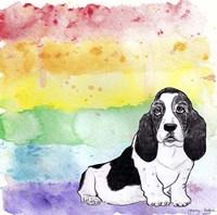 Rainbow Basset Hound Framed Print
