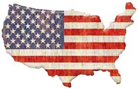 American Flag Continent Cut Out Fine Art Print