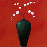 Vase on Red Framed Print