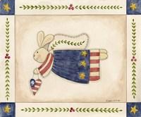 Patriotic Bunny Angel With Heart Fine Art Print