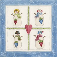 Four Snowmen With Heart Pockets Fine Art Print