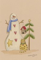 Snowman With Cat Fine Art Print