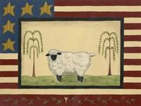 Sheep With Flag Border Fine Art Print