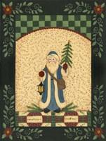 Blue Antique Santa Framed Print