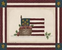 Flag With Basket Of Apples Framed Print
