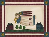 Patriotic Angel With Flag Border Fine Art Print
